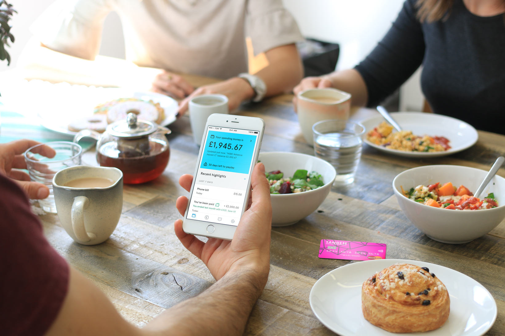 tandem app and card being used at lunch
